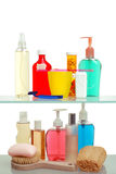 Two Shelves of Bath Cabinet Stock Photo