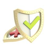 Two shield composition with yes and no signs Royalty Free Stock Photography