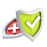 Two shield composition with yes and no signs Royalty Free Stock Image