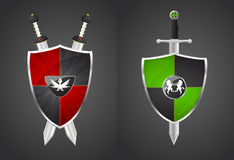 Two shields and swords Royalty Free Stock Images