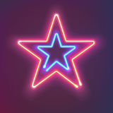 Two shining neon stars. Mysterious bright sign board for your design. Vector illustration. Royalty Free Stock Photo