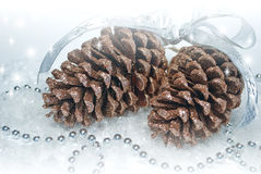 Two shiny brown pine cones with garlands Stock Photography