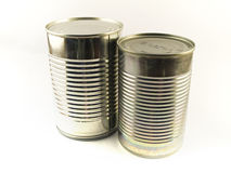 Two Shiny Food Tin Cans on White Background Royalty Free Stock Image