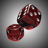 Two shiny red dices. On grey background Stock Photos