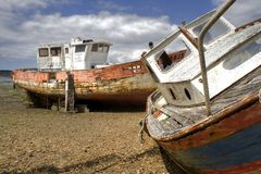 Two ships. Of a marine cemetery in Rostellec in Britain in France stock photo
