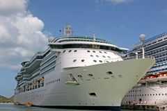 Two Ships. Two Cruise ships docked alongside each other in port Royalty Free Stock Photos