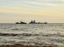 Two ships apart in sea Royalty Free Stock Images