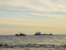 Two ships apart in sea Royalty Free Stock Image