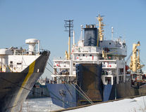 Two ships at dock winter time. Royalty Free Stock Photos