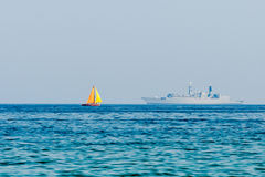 Two Ships Far Into The Black Sea Stock Photography