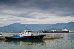 Two ships. In a harbor in Batumi stock photo