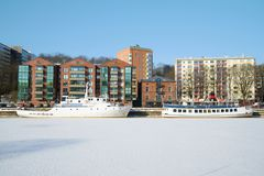 Two Ships Hibernate At The City Waterfront. Turku, Finland Stock Images