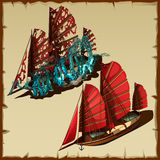 Two ships in modern and old state, cartoon icons Royalty Free Stock Photography