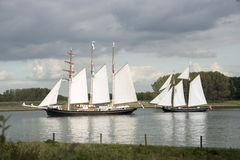 Two ships during the  Race of Classics Stock Image
