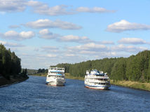 Two ships on the river Stock Photography