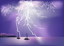 Two ships in sea and lightning Royalty Free Stock Image