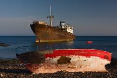 Two shipwrecks. On  the island Lanzarote Stock Photos