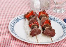 Two shish kabobs Royalty Free Stock Photos