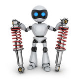 Two shock absorber and robot. Two shock absorber car and robot. 3d illustration Royalty Free Stock Images
