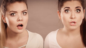 Two shocked and amazed women Royalty Free Stock Images