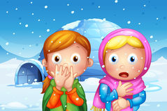 The two shocked girl with snowflakes Stock Photo