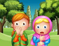 The two shocked girls at the park. Illustration of the two shocked girls at the park Royalty Free Stock Images