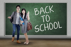 Two shocked students back to school Stock Image