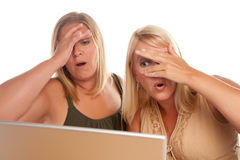 Two Shocked Women Using Laptop Stock Image