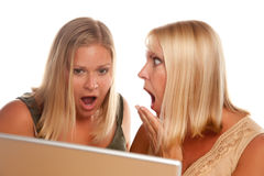 Two Shocked Women Using Laptop Royalty Free Stock Image