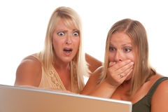 Two Shocked Women Using Laptop Stock Photos