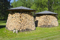 Two shopped firewood stacks Stock Images