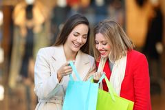 Two shoppers showing products in shopping bags Royalty Free Stock Image