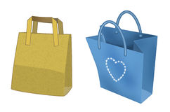 Two shopping bags. Computer-made illustration: two shopping bags, the former is yellow, the latter blue with a sparkling heart on Stock Images