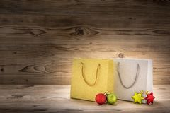 Two shopping bags with christmas decoration stock photography