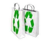 Two Shopping Bags opened and closed with recycling symbol Stock Photo