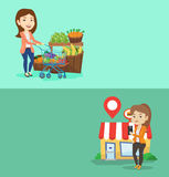 Two shopping banners with space for text. Stock Photo