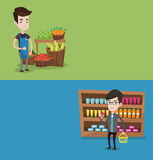 Two shopping banners with space for text. Vector flat design. Horizontal layout. Supermarket worker giving thumb up. Supermarket worker standing on the vector illustration