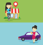 Two shopping banners with space for text. Royalty Free Stock Image