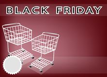 Two Shopping Cart on Black Friday Background. With Copy Space and Text Decorated, Sign for Start Christmas Shopping Season Stock Image