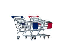 Two shopping carts on white Stock Image