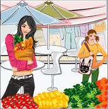 Two Shopping girls Royalty Free Stock Image