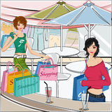 Two Shopping girls Stock Photos