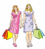 Two Shopping girls. Vector illustration of two girls with shopping bags Royalty Free Illustration