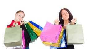 Two shopping girls close-up Stock Images