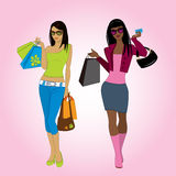 Two shopping girls, vector illustration. Stock Photo