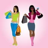 Two shopping girls, vector illustration. Stock Photo