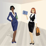 Two shopping girls, vector illustration. Stock Images