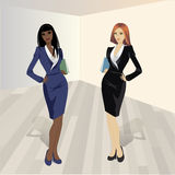 Two shopping girls, vector illustration. Two shopping girls, vector illustration Stock Photography