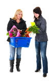Two shopping woman in the supermarket Stock Photos