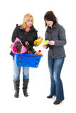 Two shopping woman in the supermarket Stock Image